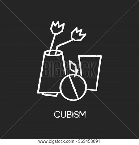 Cubism Chalk White Icon On Black Background. Vase And Fruit Abstract Composition. 20th Century Cultu