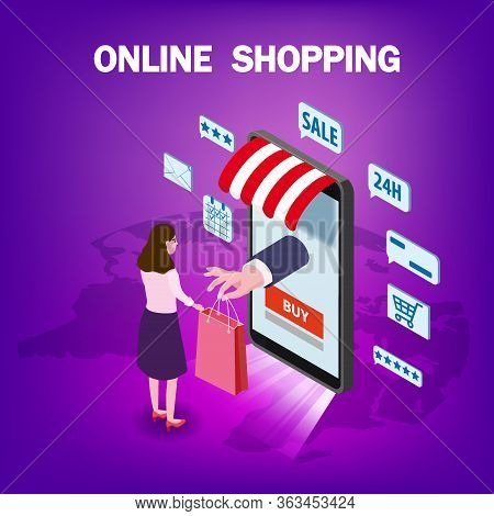 Online Shopping Young Women Character Hand Serves A Package With Purchase From Smartphone Internet S