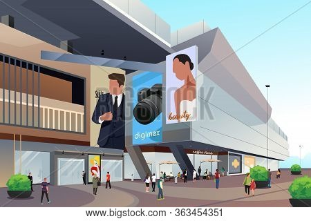A Vector Illustration Of People Outside Shopping Mall