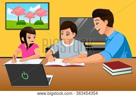 A Vector Illustration Of Parents Teaching Kids Studying At Home