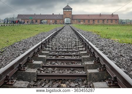 Auschwitz-birkenau, Poland - May 15, 2019: Railway To Ww2 Nazi Concentration And Extermination Camp