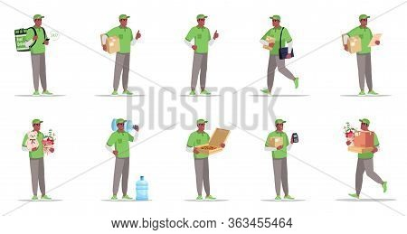 Postal And Supply Delivery Flat Vector Illustrations Set. Water In Bottle For Cooler. Pizza Delivery