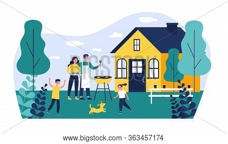 Happy Family Doing Barbecue At Garden Flat Vector Illustration. Mother And Father Cooking Outdoor Ne