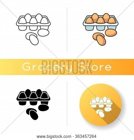 Eggs Icon. Chicken Products In Tray Package. Farming Raw Fresh Food. Culinary Recipe Ingredient. Bre
