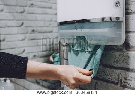 Coronavirus Protection Hand Hygiene. Paper Towels And Alcohol Gel Antibacterial Soap Sanitizer In Ba