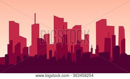 Evening Cityscape Vector Illustration. Sunset Landscape Concept. City At Sunset In A Flat Style. Eps
