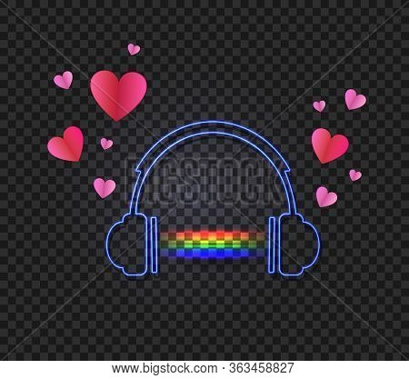 Vector Headphones With A Glowing Rainbow Music Sound And Hearts Isolated On Dark Transparent Backgro