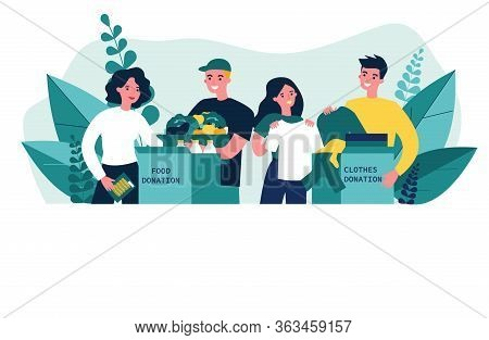 Happy Volunteers Donating Clothes And Food For Charity Flat Vector Illustration. Young Volunteering