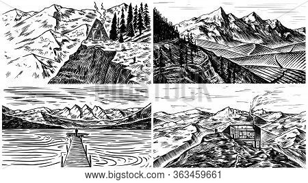Mountain Landscape Backgrounds Set. Alpine Peaks And Traveler With A Tent. Vintage Mount. Travel Con
