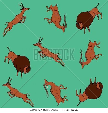 Seamless Vector Colorful Pattern With Wild Antelope, Bison And Gaszlle