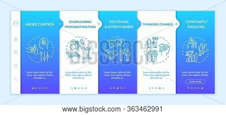 Mindset Change Onboarding Vector Template. Constantly Evolving. Overcome Procrastination. Anger Cont