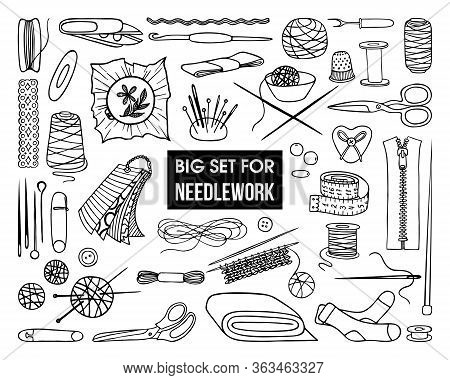 A Set Of Tools And Jewelry For Needlework On A White Background
