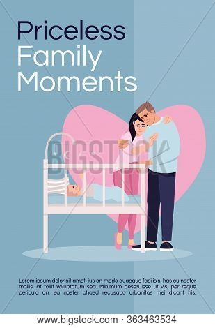 Priceless Family Moments Poster Template. Happy Parenthood, Childbirth Commercial Flyer Design With