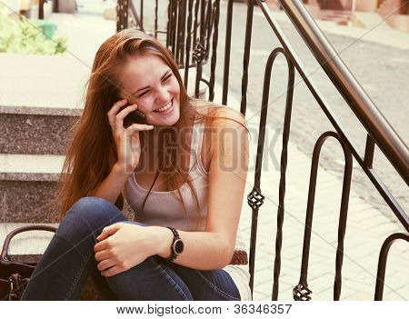 Laughing Woman Calling By Phone Outdoors Urban