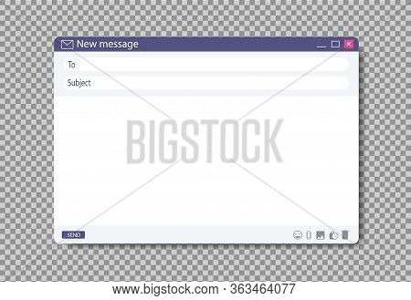 Email Window Template On Browser Page. Blank Message Layout For Web Design. Flat Mail Box With Addre