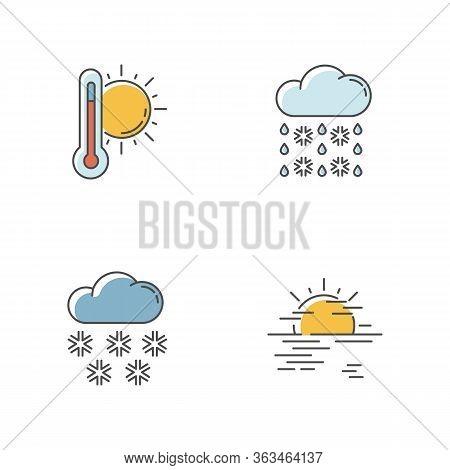 Temperature And Precipitation Forecast Rgb Color Icons Set. Seasonal Weather Prediction. Summer Heat