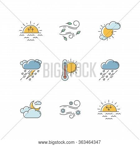 Weather Forecast Rgb Color Icons Set. Sky Condition And Temperature Prediction. Day And Night Atmosp