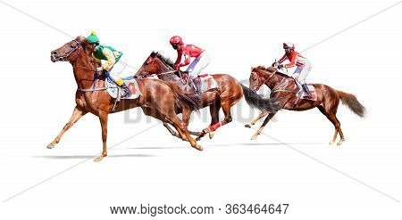 Jockey Horse Racing Isolated On White Background