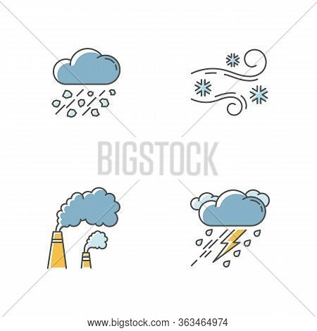 Bad Weather Forecast Rgb Color Icons Set. Meteorology, Atmosphere Condition Prediction. Hail, Blowin