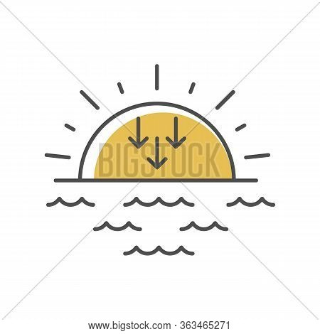 Sunset Yellow Rgb Color Icon. Evening, Sundown, Weather Forecasting. Sea, Ocean At Dusk. Transition