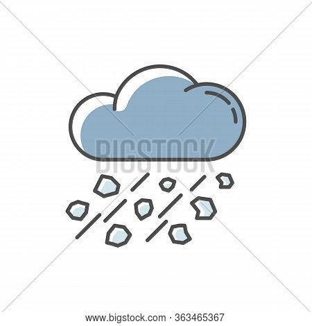 Mixed Rain Blue Rgb Color Icon. Hailstorm, Meteorology. Bad Weather Forecast, Strong Atmospheric Pre