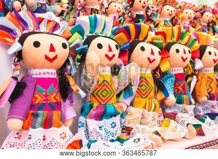 Colorful Mexican Dolls In Market Mexico Ville