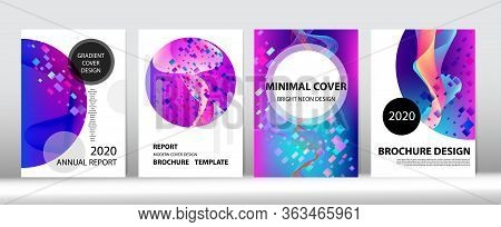 Big Data Neon Tech Background. Equalizer Gradient Overlay. 3d Fluid Shapes Trendy Cover Design. Musi