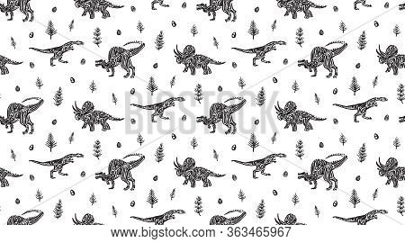 Hand Drawn Grunge Seamless Pattern With Dinosaurs, Horsetails And Dinosaur Eggs. Black And White Din