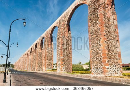 Aqueduct At Queretaro Downtown, Tourist City In Mexico