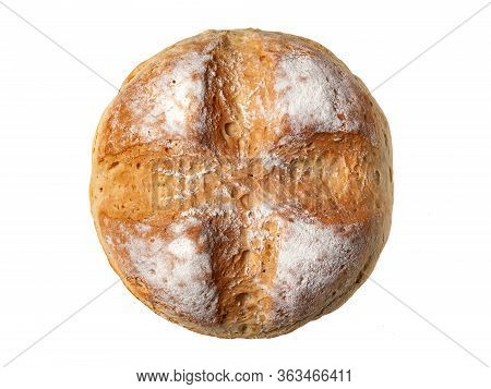 Homebaked Bread. Top View Round Peasant Bread Isolated On A White Background. Homemade Baking.