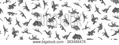 Hand Drawn Grunge Seamless Pattern With Sketch Different Dinosaur Silhouettes. Black And White Dino