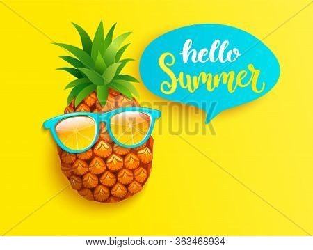Hipster Pineapple In Orange Sunglasses Greeting Summer On Yellow Background. Welcome Banner For Hot