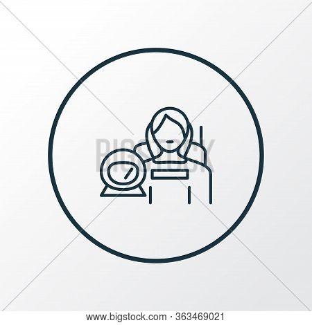 Astronaut Woman Icon Line Symbol. Premium Quality Isolated Cosmonaut Element In Trendy Style.