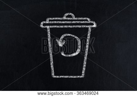 Recycling Service Chalk Icon. Converting Waste Materials. Garbage Reuse. Junk Reprocessing. Trash Bi