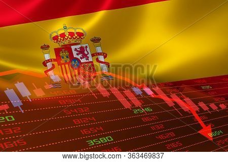 3d Rendering Of Spain Economic Downturn With Stock Exchange Market Showing Stock Chart Down And In R