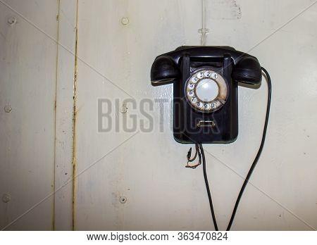 Old Black Telephone, Old Fashioned Telephone, Old Black Fashioned Telephone On White Background