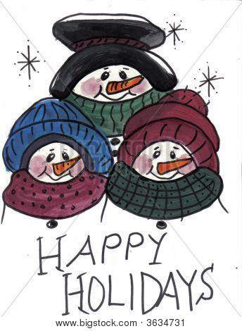 Three Snowmen Heads