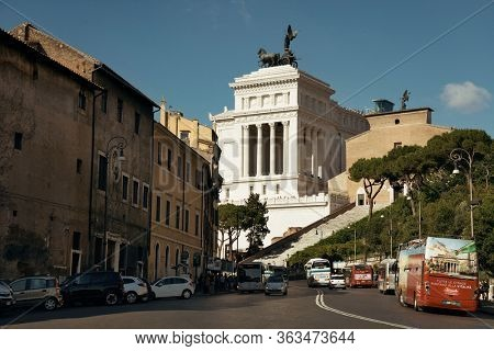 ROME - MAY 12: Street view with National Monument to Victor Emmanuel II on May 12, 2016 in Rome, Italy. Rome ranked 14th in the world, and 1st the most popular tourism attraction in Italy.