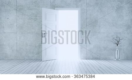 Light Entering From White Wooden Open Door To Empty Room With Concrete Wall And White Wooden Parquet