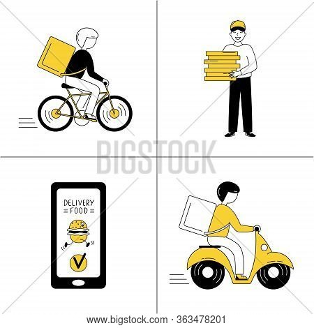 Online Food Ordering. Fast Food Delivery By Courier. A Male Cyclist/motorcyclist Carries The Ordered