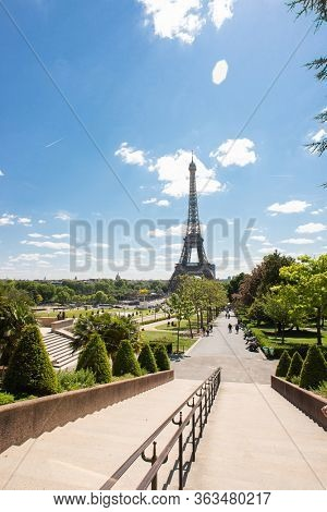Paris. France - May 15, 2019: Eiffel Tower in Paris from Trocadero. France. Best Destination in Europe.