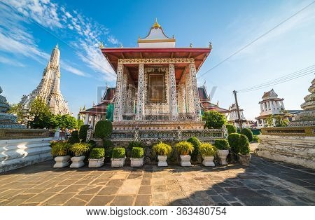 Building Inside Of Wat Arun Temple Complex In Bangkok, Thailand In Sunny Day