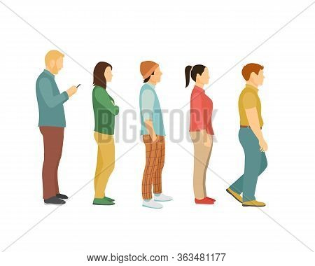 Men And Women Queue, One After Another Full View Side. Flat Vector Illustration