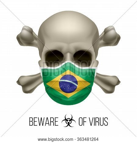 Human Skull With Crossbones And Surgical Mask In The Color Of National Flag Brazil. Mask In Form Of