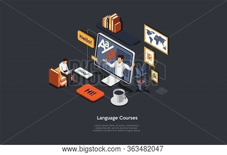 Concept Of Isometric Online Language Courses, Distance Internet Education. People Learn Different Fo