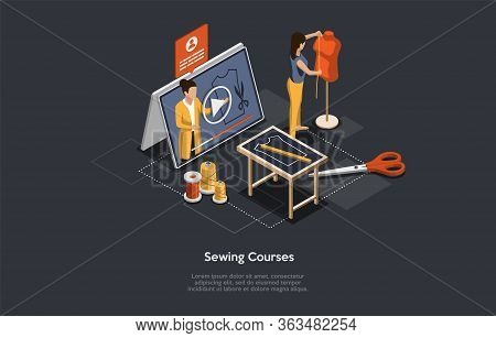 Isometric 3d Online Sewing Tailor, Fashion Designers, Atelier Courses. Woman Dressmaker Takes Online