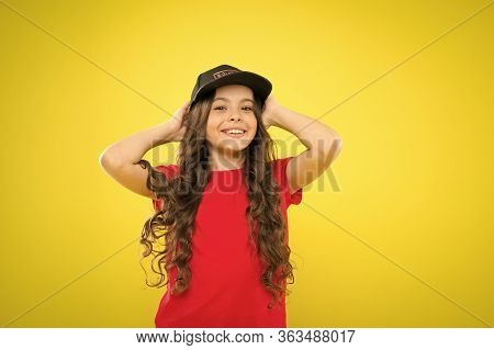 Summer Sun Protection Cap. Girl Long Curly Hair Wear Cap. Must Have Street Style Accessory Trends. M