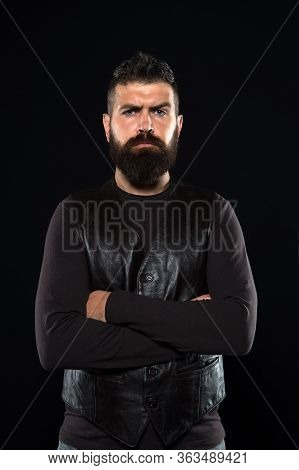 Feeling Confident All Day. Bearded Man Keep Arms Crossed. Confident Look Of Fashion Model. Confident