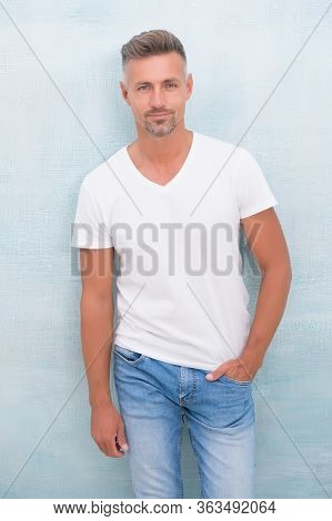 Menswear Concept. Fashion Clothes. Handsome Hipster. Simple And Comfy. Quality Clothing Made To Last