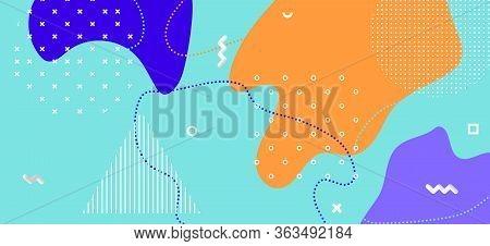 Multicolor Memphis Page. Summer Abstract Presentation. Contemporary Liquid Ornament. Bright Cool Orn